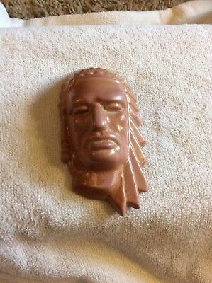 """Frankoma pottery Indian chief head wall hanging 3.5"""" brown"""