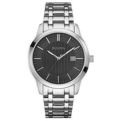 Bulova 96B223 Men's Dress Black Dial Stainless Steel Bracelet Date Quartz Watch