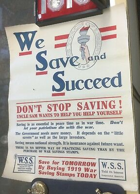 "{DO611B} Original World War I Poster ""We Save and Succeed"" 1918"