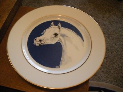 Large Gold Trimmed Porcelain Limited Edition Collectors Plate, Arabian Horse
