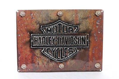 Harley-Davidson Made Plate Bar & Shield Tin Sign 17 x 12.5 Rust Look 2010831