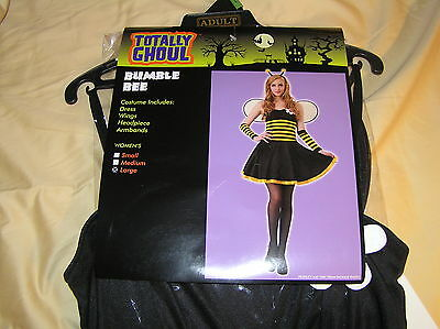 Halloween Costume Bumble Bee Dress Wings Headpiece Armbands Womens Large L