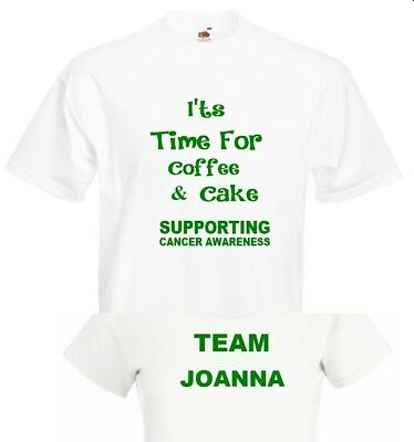 Personalised Coffee Cake T Shirt  Coffee Morning Top Donation to Macmillan