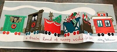 Santa Pop Up Train Reindeer Deer Diecut Tree Toys Turquoise Christmas Vtg Card