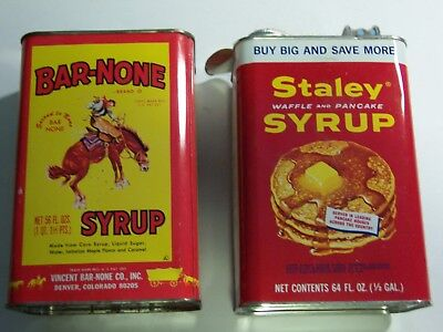 (2) vintage Syrup Tins/Cans, Staley and Bar-None, 1/2 gallon