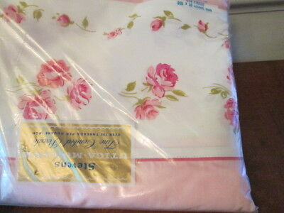 Vintage Stevens Utica-Mohawk Cotton Pink Flat Double / Full / Queen Roses Chic