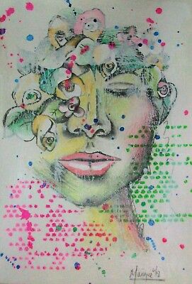 """Original Mixed Media Drawing/painting Of """"girl With Hair Of Flowers"""""""