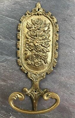 Antique Vtg Solid Brass Victorian Ornate Wall Towel Rack Floral