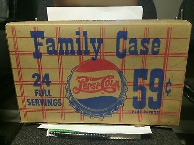 Vintage Pepsi:cola Soda Bottle Cardboard Box Bottle Carrier Double Dot Rare!!