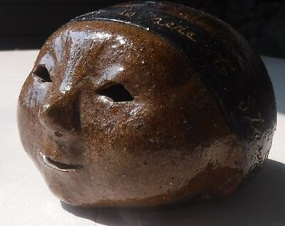 Unusual Vintage brown pottery coin piggy bank head dime bank one of a kind