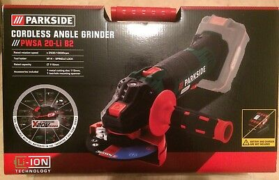 Parkside 20v Cordless Angle Grinder PWSA 20-Li B2 With Battery And Charger