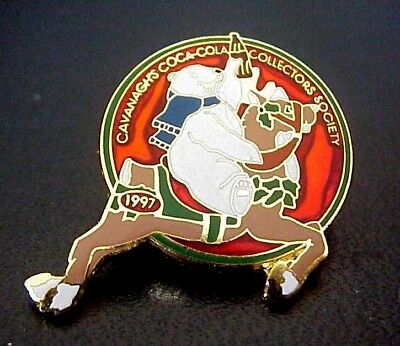 1997 Coca Cola Coke Cavanagh's Collectors Society Bear Reindeer Christmas Pin