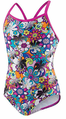 NEW Speedo Girl 1-piece Multi Colored Pop Art Floral Swimsuit Various Size