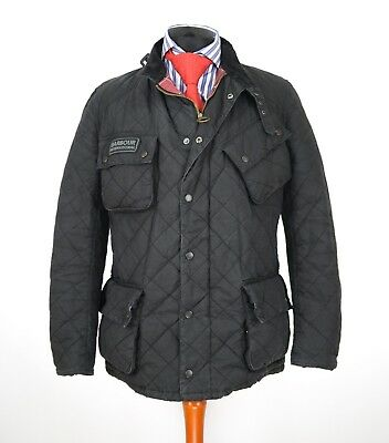 Mens Barbour International Quilted Wax Jacket Black Size XL