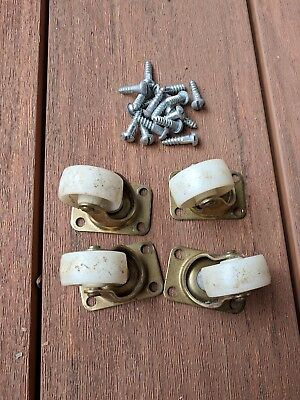 Lot of 4 Vintage Casters Wheels with Screws
