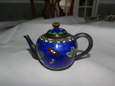 Antique Japanese Miniature Cloisonne Enamel Teapot Butterfly Decoration