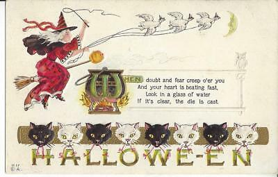ca. 1907-1915 Halloween H 17 Red Witch Geese Black White Cats Postcard