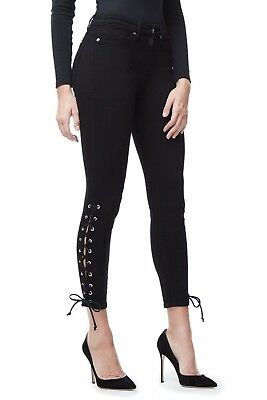 New Good American Good Legs Crop Lace Up Size 4 Black001