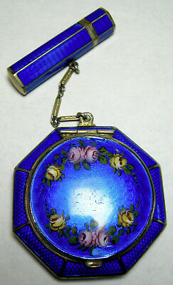 Vintage Guilloche Cobalt Blue with Roses Compact and Lipstick Case FMCO 1920's