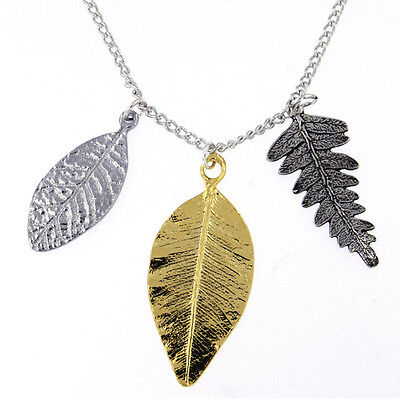 St Justin Pewter Chrome Gold Plated Three Leaves Pendant Necklace Made in UK