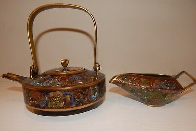 Antique Japanese Cloisonne Enamel Teapot  and Creamer Possible Meiji Period