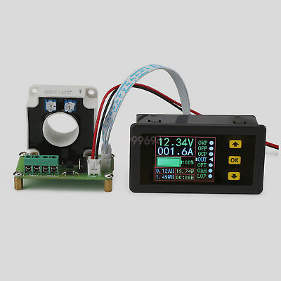 Wireless Hall Coulomb Meter DC Voltage Current Capacity Panel Meter 0-90V 0-500A