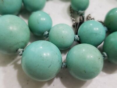 Huge Antique Chinese Turquoise Beads Necklace Sterling SILVER 79.5 Grams 17mm