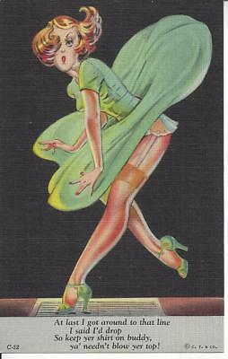 ca. 1930-1945 CURT TEICH & CO.At last I got around to that line..RISQUE Postcard