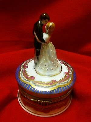 Limoges RARE Peint Main WA. Trinket Box  Bride & Groom .