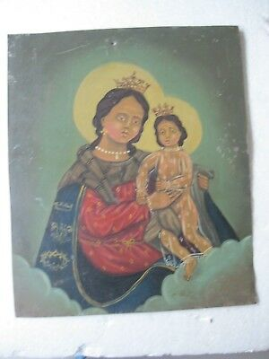 Vintage Retablo On Tin Image Of Of Our Lady Of Refuge Minor Paint Loss