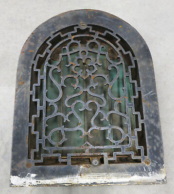 Antique Cast Iron Register Grate Dome Air Heat Victorian Vintage Grille 14.5x11