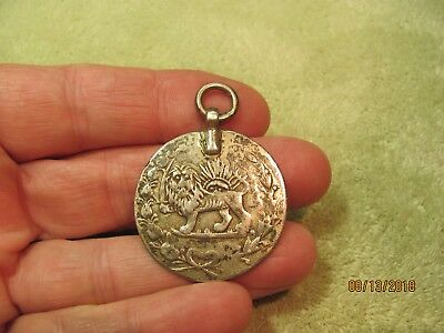 An Antique Persian Persia Money Silver Coin Pendant For Your Chain