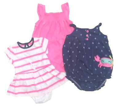 NEW & EUC - CARTER'S & More Baby Girls 3-6 12 months Nautical Pink & Navy LOT