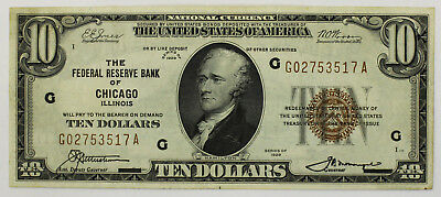 1929 Series $10 National Currency Note Chicago Illinois G A Block F-1860G