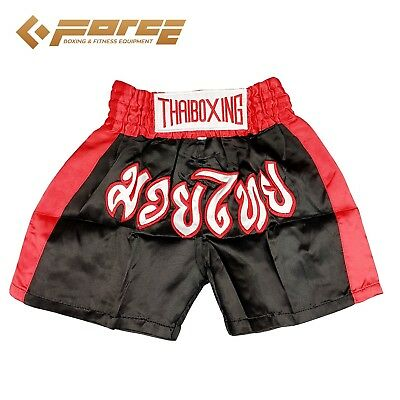 Sale! Adults Men Women Muay Thai Pants Kick Boxing Trunks Satin Black Redstrip s