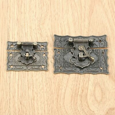 Retro Emboss Jewelry Chest Box Clasp Hasp Latch Wooden Case Hardware Rectangle