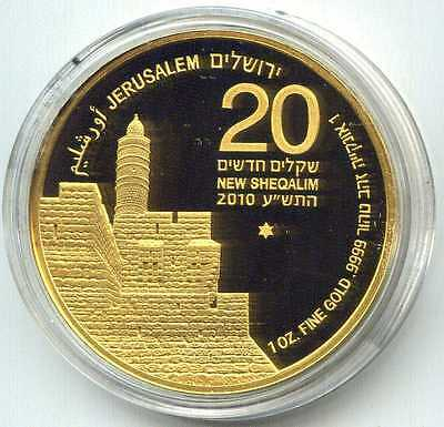 """Israel 1 oz gold coin """"Tower of David"""" (2010), 1st coin in Holy Land series"""