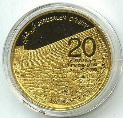 """Israel 1 oz gold coin """"Western Wall"""" (2011), 2nd coin in Holy Land series"""