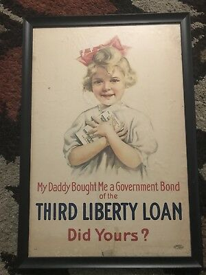 Original World War 1 Poster Custom Framed Liberty Loan