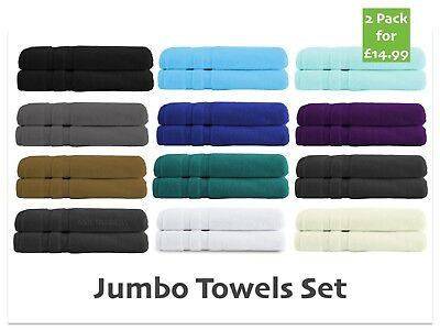 2 Pack 100% Cotton Jumbo Towels Set Bath Sheets Soft XL Size Combed Luxury New