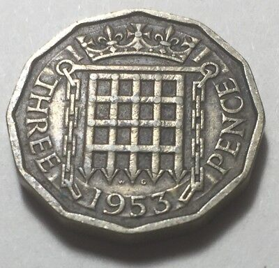 Great Britain 1953 Three Pence Coin - Queen Elizabeth II
