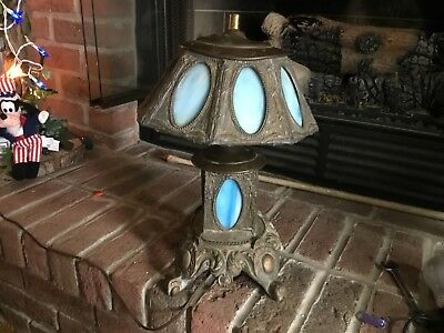 Antique Blue Leaded Stained Glass Slag Lamp Light 18in Tall  Copper Old