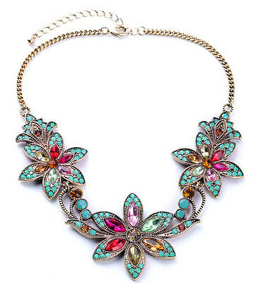 Vintage gold plated multi color pink gems 3 flower bib necklace US SELLER