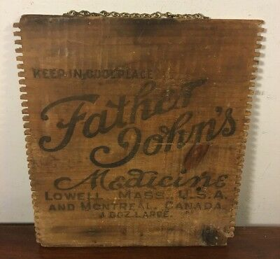 Vintage Father Johns Medicine Lowell Mass Wood Box Panel Sign Canada