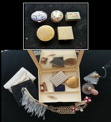 18pc Vintage Lot Weiss Compacts Purses Vanity Perfume Bottles Pillboxes Collar