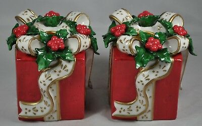 Set of 2 Avon Christmas Holiday Gift Box Taper Candle Holders