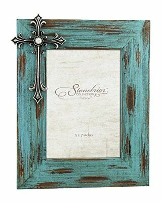 Stonebriar Distressed Turquoise Wood 5x7 Photo Frame with Vintage Jeweled Cross