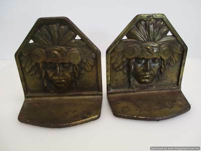 RARE Antique Pair CJO Judd Bookends 9893 Deco Indian Chief Cast Iron Arts Crafts