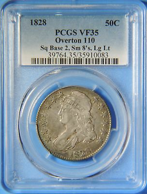 1828 Capped Bust Silver Half Dollar O-110 Square Base 2 Sm 8 Lg Letter PCGS VF35