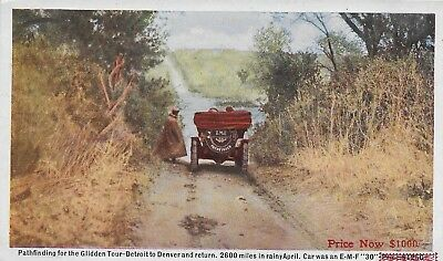 Antique Postcard Glidden Pathfinding AAA Automobile Assn. Car - A River to Cross